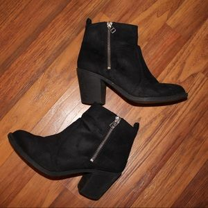 Black faux suede booties from h&m with zippers!